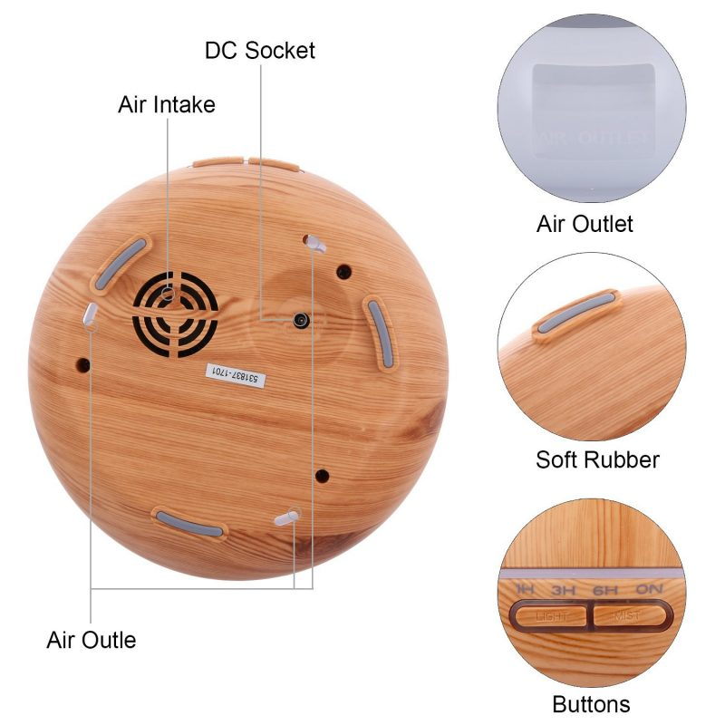 Diffuser Essential Oil Syiir 300 ml Wood Motif + Colorful LED Light